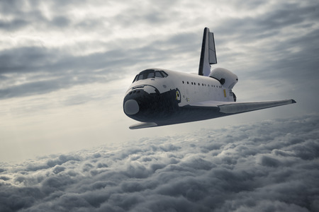 Space Shuttle Landing Over The Clouds. 3D Illustration.