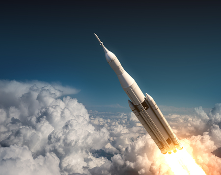 orbital station: Space Launch System Flying In The Clouds. 3D Illustration. Stock Photo