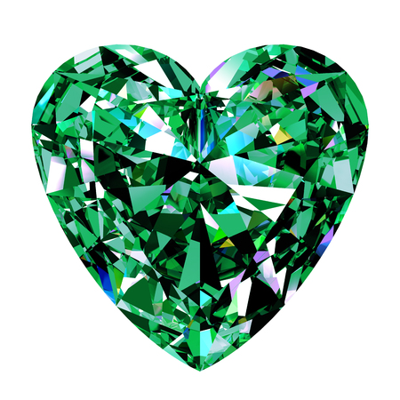 emerald gemstone: Green Emerald Heart On White Background. 3D Illustration.