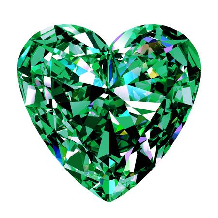 coeur diamant: Vert émeraude Coeur sur fond blanc. Illustration 3D.