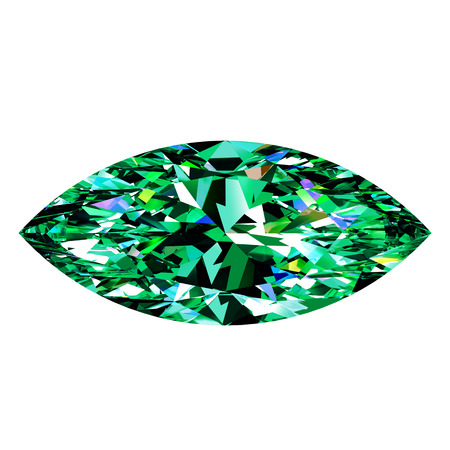 topaz: Green Emerald Marquise On White Background. 3D Illustration.