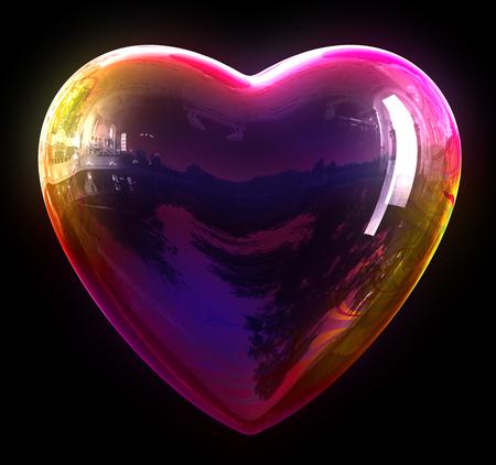 wet flies: Concept Of Soap Bubble Heart. 3D Illustration.