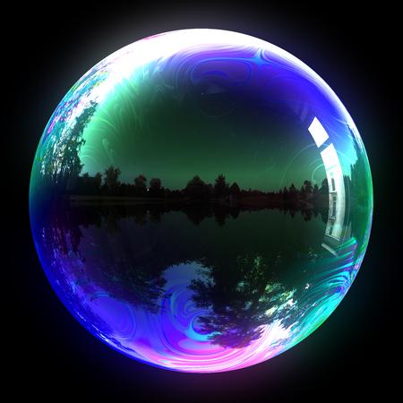 iridescent: Soap Bubble On Black Background. 3D Illustration. Stock Photo