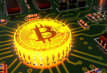 incandescent: Concept Of Bitcoin Like A Incandescent Processor On Motherboard. 3D Illustration.