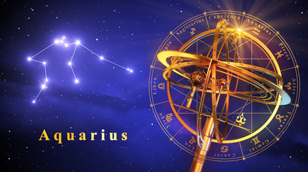 virgo the virgin: Armillary Sphere And Constellation Aquarius Over Blue Background. 3D Illustration. Stock Photo