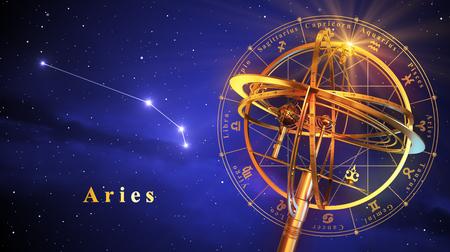Armillairsfeer en de constellatie Ram over blauwe achtergrond. 3D Illustratie.