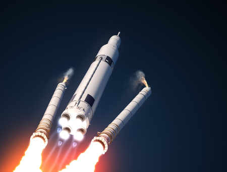 orbital station: Space Launch System Solid Rocket Boosters Separation. 3D Illustration.