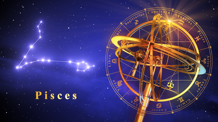 virgo the virgin: Armillary Sphere And Constellation Pisces Over Blue Background. 3D Illustration.