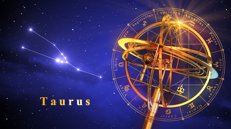 Armillary Sphere And Constellation Taurus Over Blue Background. 3D Illustration.