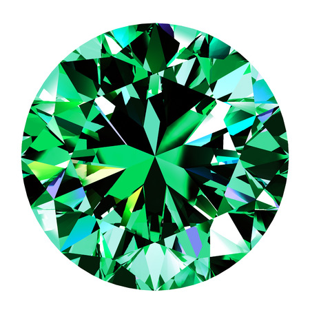 scintillate: Emerald Round Over White Background. 3D Illustration.