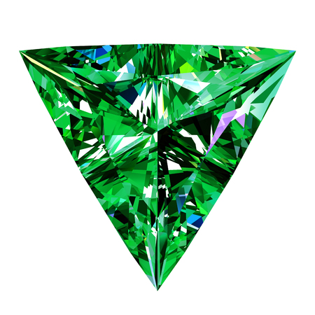 scintillation: Emerald Triangle Over White Background. 3D Illustration.