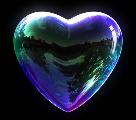 wet flies: Concept Of Blue Soap Bubble Heart. 3D Illustration.