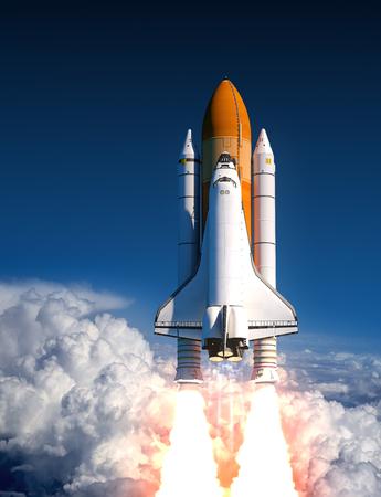 cohetes: Lanzamiento del transbordador espacial en las nubes. Ilustración 3D. Foto de archivo