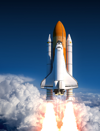 booster: Space Shuttle Launch In The Clouds. 3D Illustration.