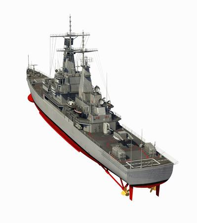 battleship: Modern Warship Over White Background. 3D Illustration. Stock Photo