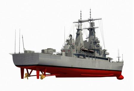 domination: American Modern Warship Over White Background. 3D Illustration. Stock Photo