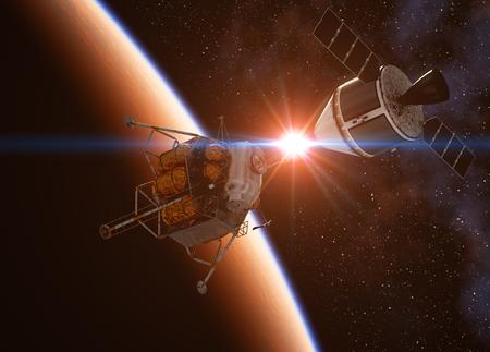 docking: Crew Exploration Vehicle Docking In Space. 3D Illustration.