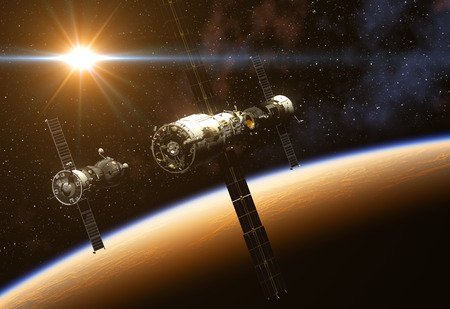 orbital station: Space Station And Spacecraft On Background Of The Sun. 3D Illustration. Stock Photo