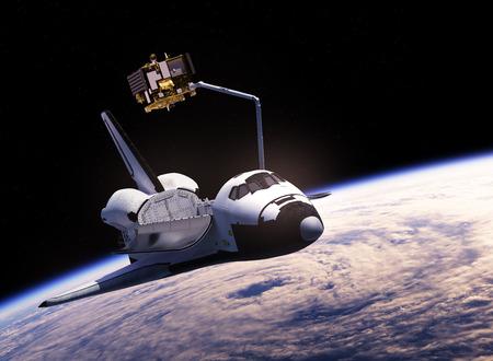 satellite 3d: Space Shuttle Deploying Communication Satellite. 3D Illustration.