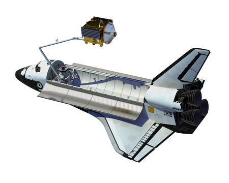 space station: Space Shuttle Deploying Satellite Over White Background. 3D Illustration.