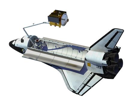 deploy: Space Shuttle Deploying Satellite Over White Background. 3D Illustration.