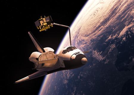 deploy: Space Shuttle Deploying Communication Satellite. 3D Illustration.
