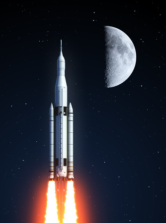 orbital station: Space Launch System And Moon. 3D Illustration. Elements of this image furnished by NASA.