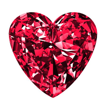 scintillation: Ruby Heart Over White Background. 3D Illustration.