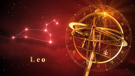 astral: Armillary Sphere And Constellation Leo Over Red Background. 3D Illustration.