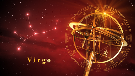 astral: Armillary Sphere And Constellation Virgo Over Red Background. 3D Illustration.