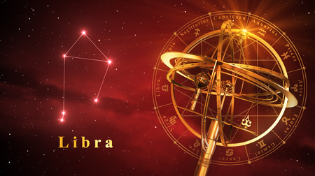virgo the virgin: Armillary Sphere And Constellation Libra Over Red Background. 3D Illustration. Stock Photo