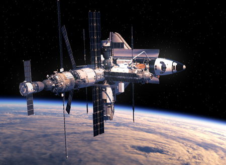 earth from space: Space Shuttle And Space Station Orbiting Earth. 3D Illustration.