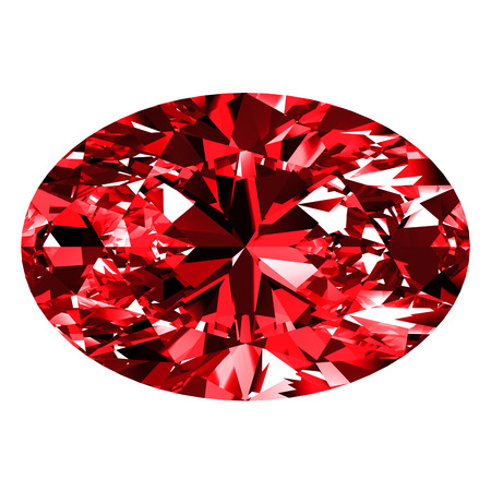 scintillation: Ruby Oval Over White Background. 3D Illustration.