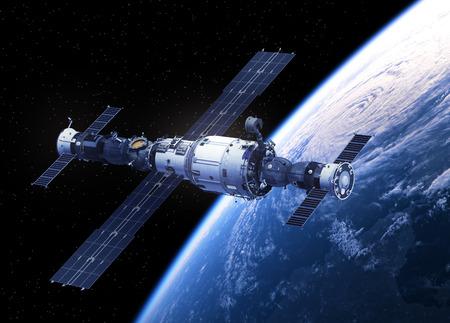 Raumstation Umkreisen Planeten Erde. Abbildung 3D.