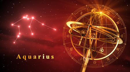 Armillary Sphere And Constellation Aquarius Over Red Background. 3D Illustration. Stock Photo