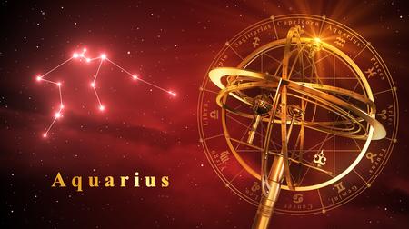 reloj de sol: Esfera armilar Y constelación de Acuario sobre fondo rojo. Ilustración 3D.