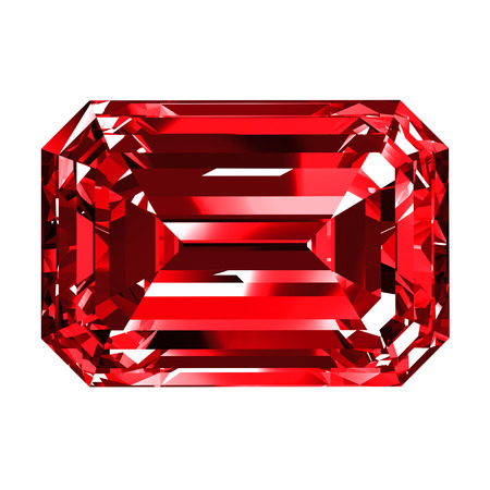 ruby: Ruby Emerald Over White Background. 3D Illustration.