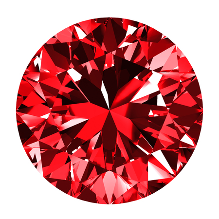 scintillation: Ruby Round Over White Background. 3D Illustration. Stock Photo