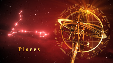 Armillary Sphere And Constellation Pisces Over Red Background. 3D Illustration. Imagens