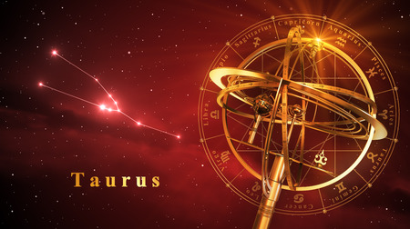 Armillary Sphere And Constellation Taurus Over Red Background. 3D Illustration.