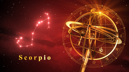 red sphere: Armillary Sphere And Constellation Scorpio Over Red Background. 3D Illustration.