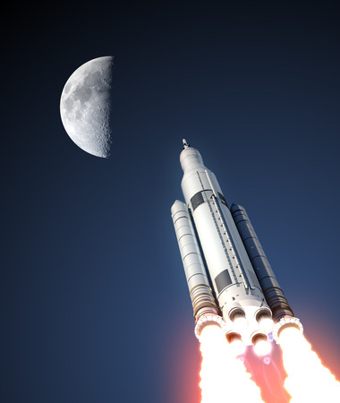 orbital station: Space Launch System And Moon. 3D Illustration. Stock Photo