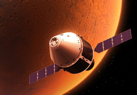 spacecraft: Spacecraft Orbiting Red Planet. Realistic 3D Illustration. Stock Photo