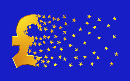 apart: Pound Sterling Sign Falling Apart To Gold Stars Over Blue Background.. 3D Illustration.