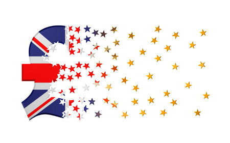 dissolving: Pound Sterling Sign Falling Apart To Gold Stars Over White Background. 3D Illustration. Stock Photo