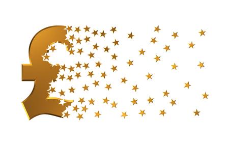 dissolving: Pound Sterling Sign Falling Apart To Stars. 3D Illustration.