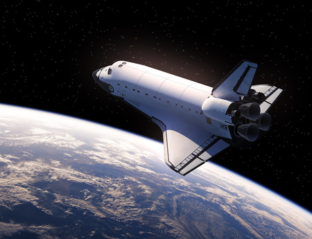 Space Shuttle In Space. Realistic 3D Illustration. Stock Photo