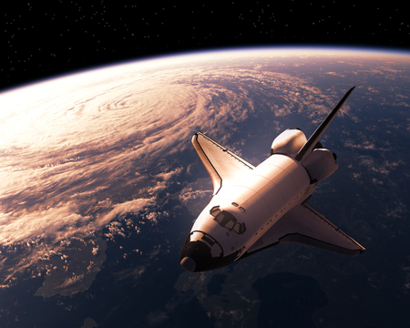earth from space: Space Shuttle Orbiting Planet Earth. 3D Illustration. Stock Photo