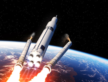 orbital station: Space Launch System Solid Rocket Boosters Separation Over The Earth. 3D Illustration.