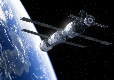 space station: International Space Station In Space. 3D Illustration.